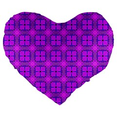 Abstract Dancing Diamonds Purple Violet Large 19  Premium Heart Shape Cushions by DianeClancy