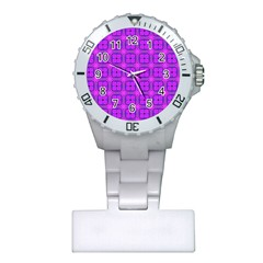 Abstract Dancing Diamonds Purple Violet Plastic Nurses Watch by DianeClancy