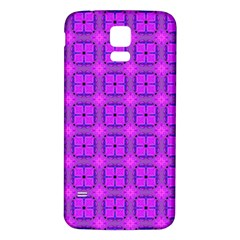 Abstract Dancing Diamonds Purple Violet Samsung Galaxy S5 Back Case (white) by DianeClancy