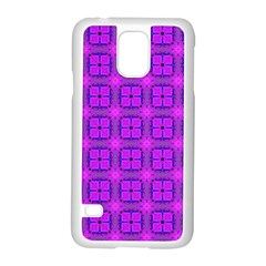 Abstract Dancing Diamonds Purple Violet Samsung Galaxy S5 Case (white) by DianeClancy