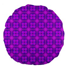 Abstract Dancing Diamonds Purple Violet Large 18  Premium Flano Round Cushions by DianeClancy