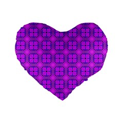Abstract Dancing Diamonds Purple Violet Standard 16  Premium Flano Heart Shape Cushions by DianeClancy