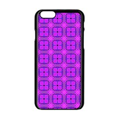 Abstract Dancing Diamonds Purple Violet Apple Iphone 6/6s Black Enamel Case by DianeClancy