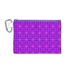 Abstract Dancing Diamonds Purple Violet Canvas Cosmetic Bag (m) by DianeClancy