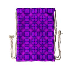 Abstract Dancing Diamonds Purple Violet Drawstring Bag (small) by DianeClancy