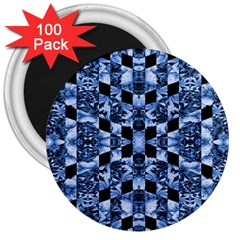 Indigo Check Ornate Print 3  Magnets (100 Pack) by dflcprints