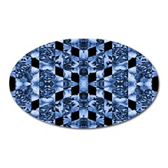 Indigo Check Ornate Print Oval Magnet by dflcprints