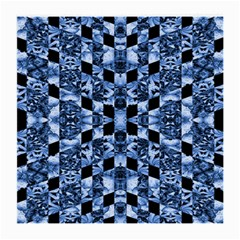Indigo Check Ornate Print Medium Glasses Cloth (2-Side) by dflcprints