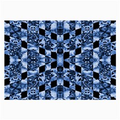 Indigo Check Ornate Print Large Glasses Cloth (2 Side) by dflcprints