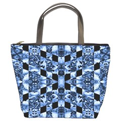 Indigo Check Ornate Print Bucket Bags by dflcprints