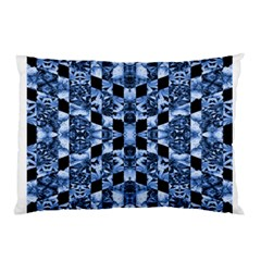 Indigo Check Ornate Print Pillow Case by dflcprints
