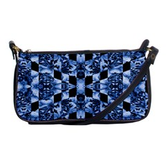 Indigo Check Ornate Print Shoulder Clutch Bags by dflcprints