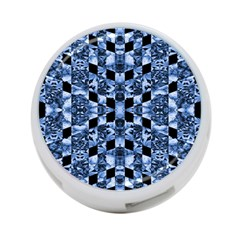 Indigo Check Ornate Print 4 Port Usb Hub (one Side) by dflcprints