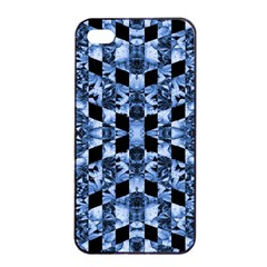 Indigo Check Ornate Print Apple Iphone 4/4s Seamless Case (black) by dflcprints