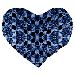 Indigo Check Ornate Print Large 19  Premium Flano Heart Shape Cushions by dflcprints