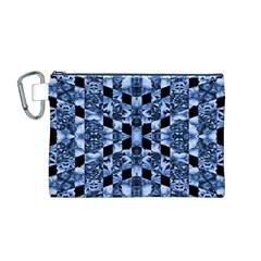 Indigo Check Ornate Print Canvas Cosmetic Bag (m) by dflcprints