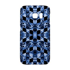Indigo Check Ornate Print Galaxy S6 Edge by dflcprints