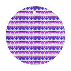 Floral Stripes Pattern Round Ornament (two Sides)  by dflcprints