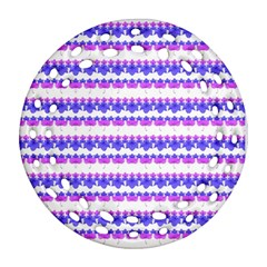 Floral Stripes Pattern Ornament (round Filigree)  by dflcprints