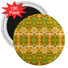 Boho Stylized Floral Stripes 3  Magnets (100 Pack) by dflcprints