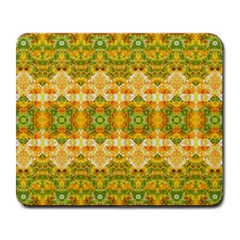 Boho Stylized Floral Stripes Large Mousepads by dflcprints