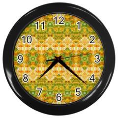 Boho Stylized Floral Stripes Wall Clocks (black) by dflcprints