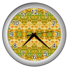 Boho Stylized Floral Stripes Wall Clocks (silver)  by dflcprints