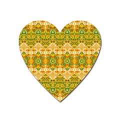 Boho Stylized Floral Stripes Heart Magnet by dflcprints