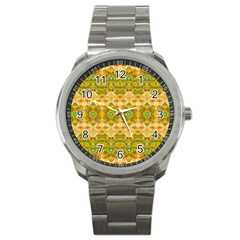 Boho Stylized Floral Stripes Sport Metal Watch by dflcprints