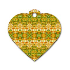 Boho Stylized Floral Stripes Dog Tag Heart (two Sides) by dflcprints