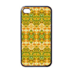 Boho Stylized Floral Stripes Apple Iphone 4 Case (black) by dflcprints