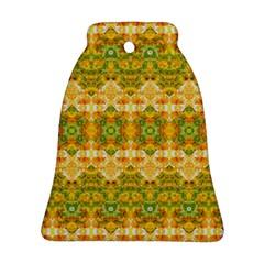 Boho Stylized Floral Stripes Bell Ornament (2 Sides) by dflcprints