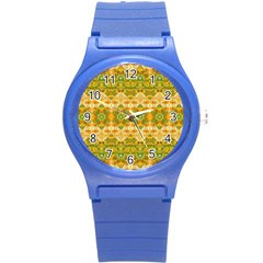 Boho Stylized Floral Stripes Round Plastic Sport Watch (s) by dflcprints