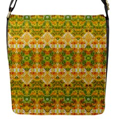Boho Stylized Floral Stripes Flap Messenger Bag (s) by dflcprints