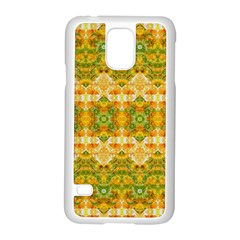 Boho Stylized Floral Stripes Samsung Galaxy S5 Case (white) by dflcprints