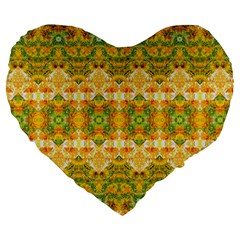 Boho Stylized Floral Stripes Large 19  Premium Flano Heart Shape Cushions by dflcprints