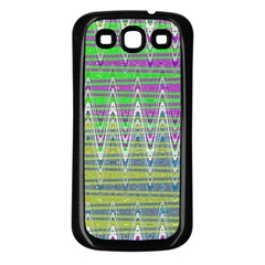 Colorful Zigzag Pattern Samsung Galaxy S3 Back Case (Black) by BrightVibesDesign