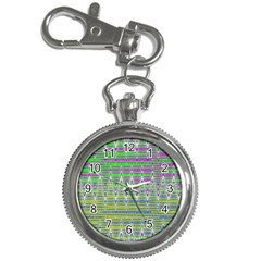 Colorful Zigzag Pattern Key Chain Watches by BrightVibesDesign