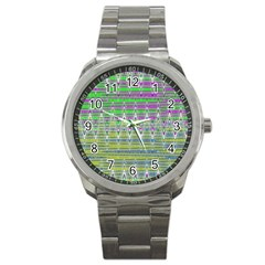 Colorful Zigzag Pattern Sport Metal Watch by BrightVibesDesign