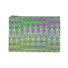 Colorful Zigzag Pattern Cosmetic Bag (large)  by BrightVibesDesign