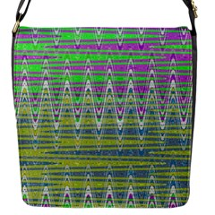 Colorful Zigzag Pattern Flap Messenger Bag (s) by BrightVibesDesign