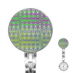 Colorful Zigzag Pattern Stainless Steel Nurses Watch by BrightVibesDesign