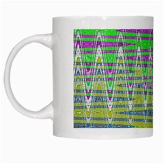 Colorful Zigzag Pattern White Mugs by BrightVibesDesign