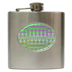Colorful Zigzag Pattern Hip Flask (6 Oz) by BrightVibesDesign