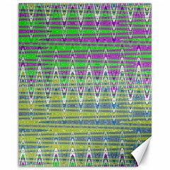 Colorful Zigzag Pattern Canvas 11  X 14   by BrightVibesDesign