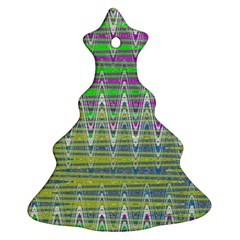 Colorful Zigzag Pattern Christmas Tree Ornament (2 Sides) by BrightVibesDesign