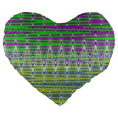 Colorful Zigzag Pattern Large 19  Premium Heart Shape Cushions by BrightVibesDesign