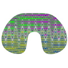 Colorful Zigzag Pattern Travel Neck Pillows by BrightVibesDesign