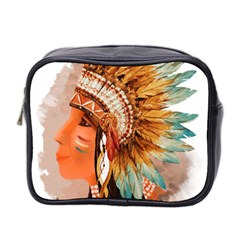 Native American Young Indian Shief Mini Toiletries Bag 2 Side