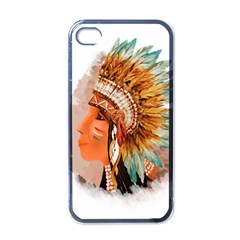 Native American Young Indian Shief Apple Iphone 4 Case (black) by TastefulDesigns